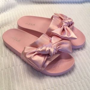 Pink satin slippers